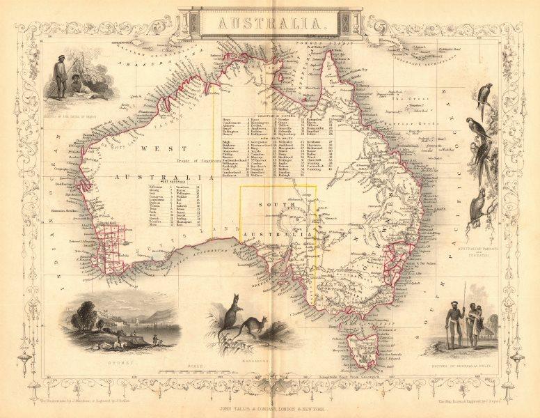 Map Of Australia Sydney.Australia Sydney View Pre Queensland Est 1859 Counties Tallis