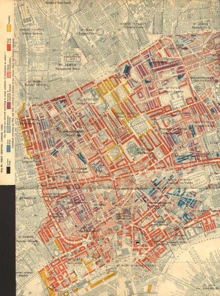 Map Soho London.Charles Booth Poverty Map Soho Bloomsbury Fitzrovia Covent Gdn St James S 1902
