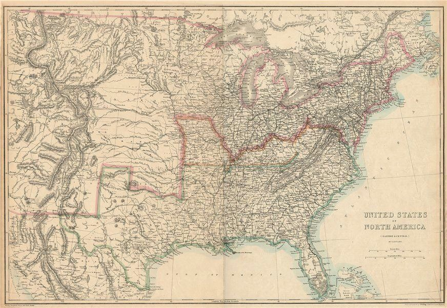 CIVIL WAR USA showing Union Confederate Border states ETTLING