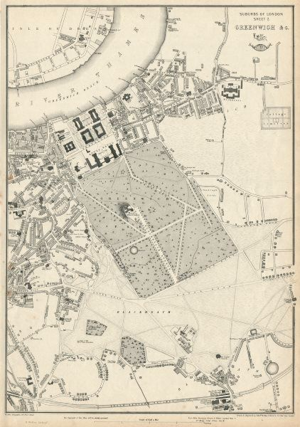 London Map Suburbs.Greenwich Blackheath Lewisham London Suburbs Dispatch Atlas Weller 1863 Map