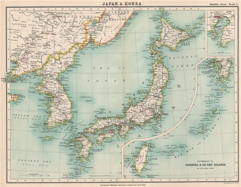 JAPAN KOREA PROTESTANT MISSION STATIONS Christian Missionary - Japan map korea