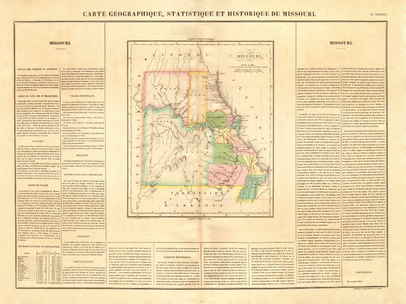 Missouri State Map Borders 1837 Platte Purchase Indian Frontier