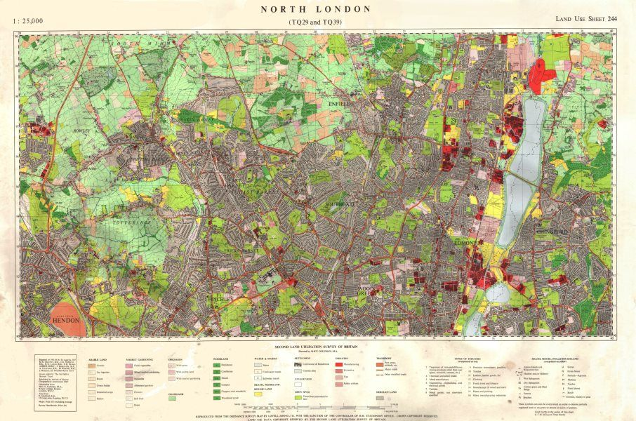 North Of London Map.North London Tq29 Tq39 Land Use Survey Sheet 244 85x55cm 1967 Old Map