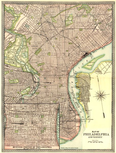 PHILADELPHIA town city plan Inset CBD Pennsylvania 1907 antique map