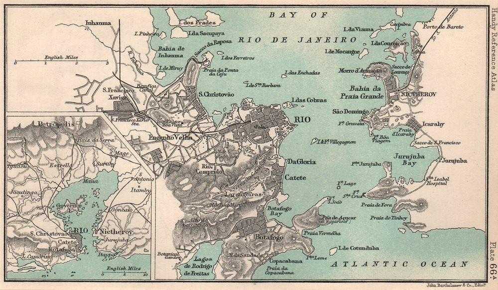 Rio de Janeiro town city plan. Niteroi. Brazil. BARTHOLOMEW 1904 ...
