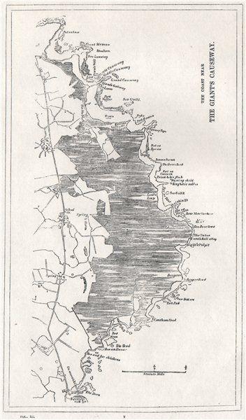 Map Of Ireland Giants Causeway.The Coast Near The Giant S Causeway Ireland 1835 Antique Map