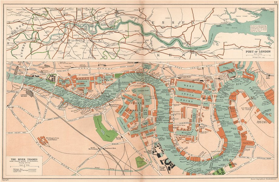 London Atlas Map.The Port Of London Showing Wharves Docks Thames Vintage Map Bacon 1927